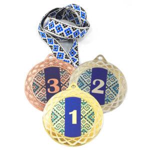 Медали спорт Д254 Синяя вышиванка купить для награждения